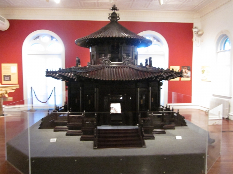 The fully assembled Ten Thousand Springs Pavilion made from sandalwood.