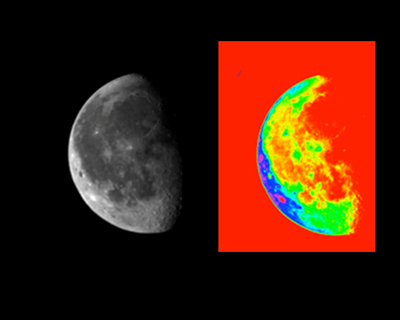 A black and white image of the moon is pictured to the left of a brightly colored red, green, yellow and blue interpretation of the moon on right.