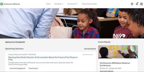 screen grab of the virtual attendee hub