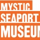 Orange and white mystic seaport museum logo